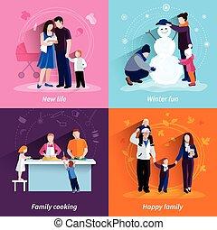 plano, cuadrado, iconos, paternidad, conjunto, 4