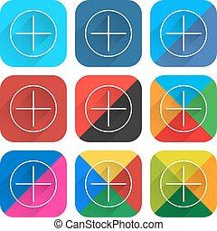 plano, cuadrado, red, tela, botón, social, popular, icono