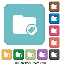 plano, cuadrado, redondeado, iconos, directorio, tagging
