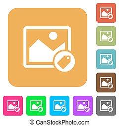 plano, cuadrado, redondeado, iconos, imagen, tagging
