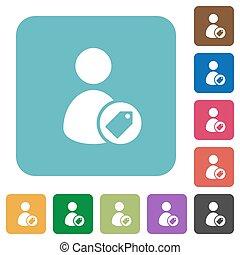plano, cuadrado, redondeado, iconos, usuario, tagging