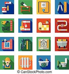 plano, cuadrado, reparación, iconos, conjunto, hogar