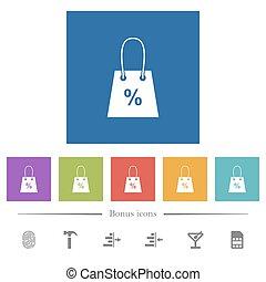 plano, cuadrado, señal, bolsa, iconos, blanco, compras, fondos, porcentaje