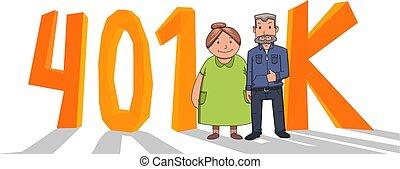 plano, cuenta, cartas, coloreado, fron, pareja, acronym., aislado, anciano, 401k, fondo., vector, pensión, blanco, feliz, retirement., illustration.