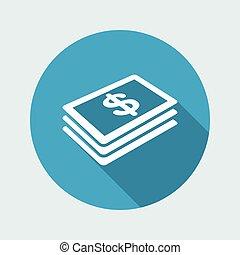 plano, dólares, billete de banco, icono