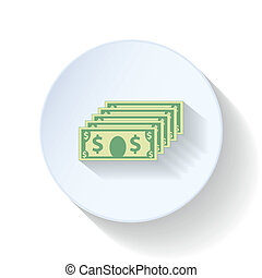 plano, dólares, iconos