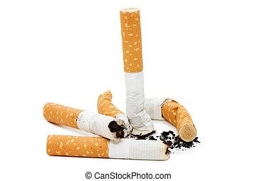 plano de fondo, aislado, butt, cigarrillo, blanco