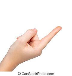 plano de fondo, aislado, mano femenina