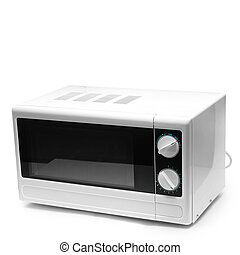 Plano de fondo, aislado, microonda, horno, blanco, comida