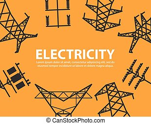 plano de fondo, alto, equipo, poste, voltaje, eléctrico