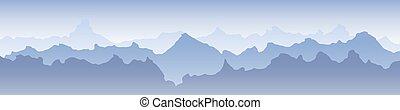 plano de fondo, azul, niebla, bandera, montaña, hermoso,...