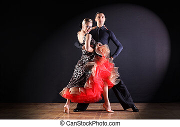 plano de fondo, bailarines, negro, aislado, salón de baile