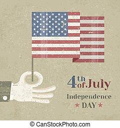 plano de fondo, bandera nacional, mano, norteamericano, tenencia