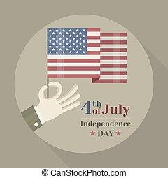 plano de fondo, bandera nacional, mano, norteamericano, tenencia, redondo