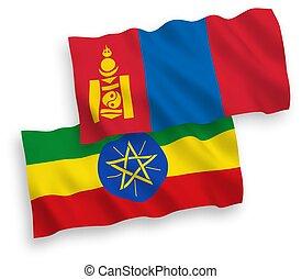plano de fondo, banderas, mongolia, etiopía, blanco