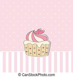 plano de fondo, beige, cupcake.