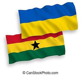 plano de fondo, blanco, ghana, banderas, ucrania