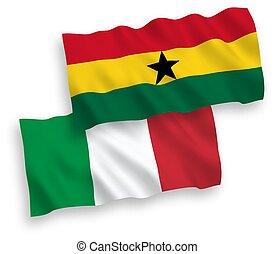 plano de fondo, blanco, italia, ghana, banderas