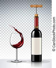 plano de fondo, botella de vidrio, transparente, vino rojo