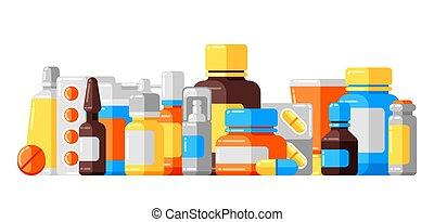 plano de fondo, botellas, medicina, pills.