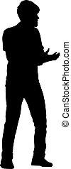 plano de fondo, brazo, hombre, blanco, negro, siluetas, levantado