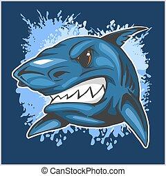 plano de fondo, cabeza, grunge, enojado, tiburón
