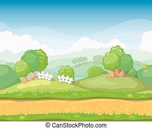 plano de fondo, caricatura, país, horizontal, seamless, juego, lindo, paisaje