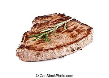 plano de fondo, carne de vaca, aislado, delicioso, blanco, filete
