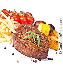 plano de fondo, carne de vaca, aislado, filete, delicioso, blanco