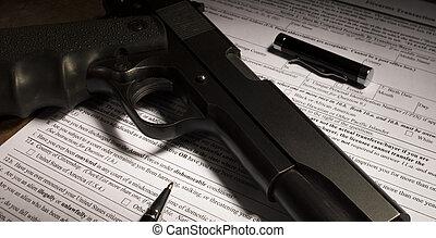plano de fondo, cheque, forma, para, un, arma de fuego, compra
