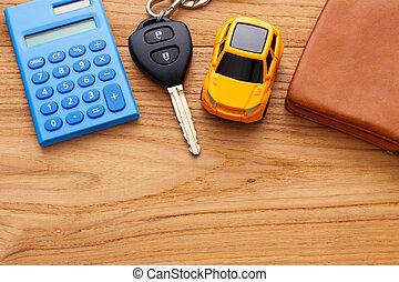 plano de fondo, coche, bolsillo, madera, llave, dinero