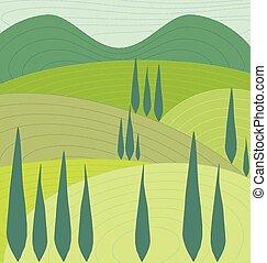 plano de fondo, colinas, y, árboles