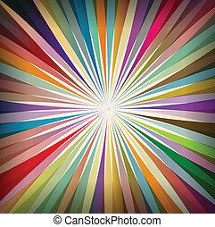 plano de fondo, colorido, explosión, sol, retro, plantilla