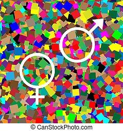 plano de fondo, colorido, símbolo, sexo, vector., blanco, ...