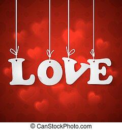 plano de fondo, con, amor, inscripción