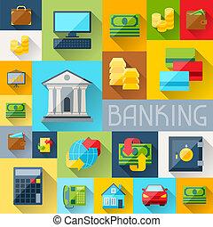 plano de fondo, con, banca, iconos, en, plano, diseño,...