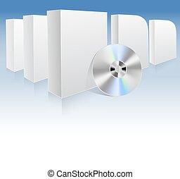 plano de fondo, con, blanco, cajas, y, dvd., vector, ilustración