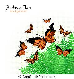 plano de fondo, con, brillante, mariposas