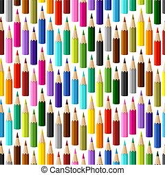plano de fondo, con, coloreado, pencils., vector, seamless,...
