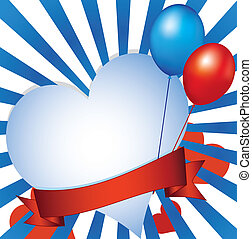 plano de fondo, con, corazón, y, globos