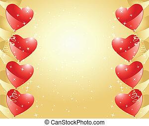 plano de fondo, con, corazones