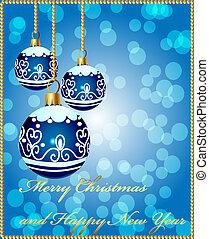 plano de fondo, con, decorativo, pelota azul, en, navidad