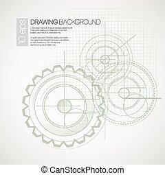 plano de fondo, con, dibujo, gears., vector, ilustración