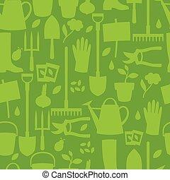 plano de fondo, con, diseño de jardín, elementos, y, iconos