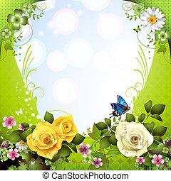 plano de fondo, con, flores