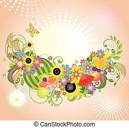 plano de fondo, con, flores, y, fruits