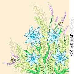 plano de fondo, con, flores, y, hojas verdes
