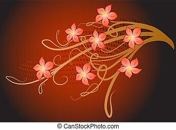 plano de fondo, con, flower.