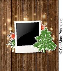 plano de fondo, con, foto, y, árbol de navidad