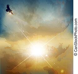 plano de fondo, con, high-soaring, águila